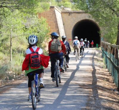 Bikes along the Via verde of Val del Zafan or along the Via verde of Terra Alta
